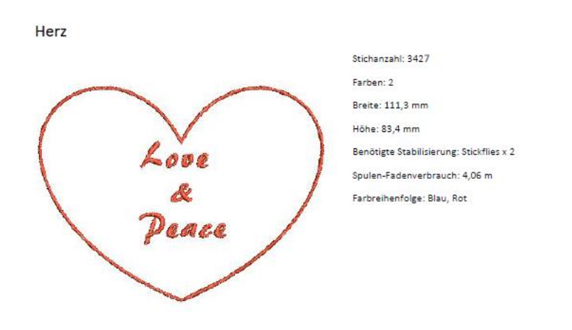 "Applikationsvorlage Herz ""Love & Peace"""
