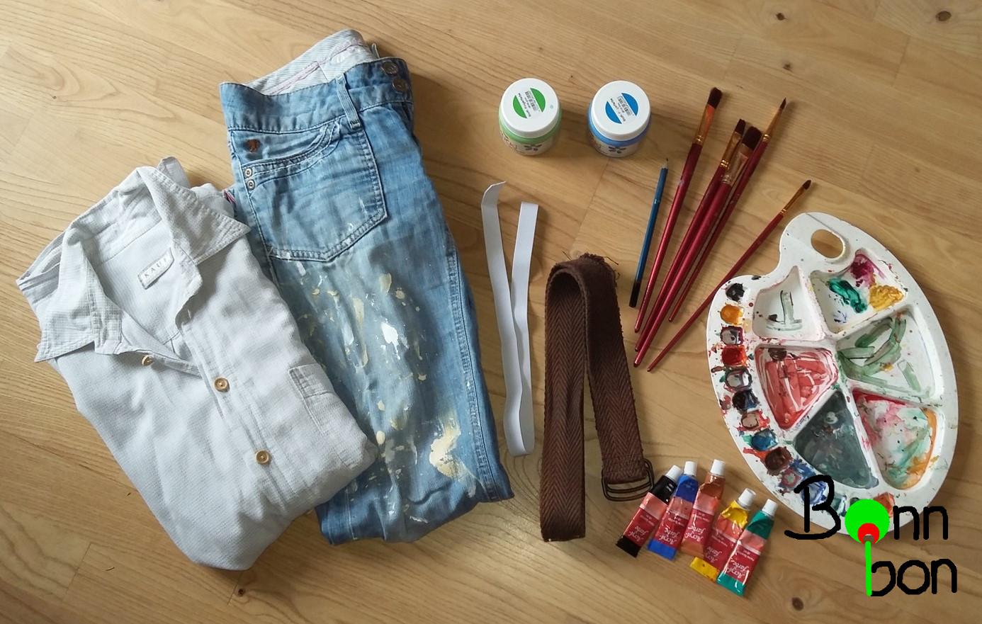 Utensilien für Kostüm Malerin